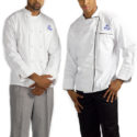Hilton International embroidered chef coats, hat and trousers