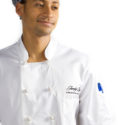 Embroidered chef's uniform for Jumby Bay Resort, Antigua