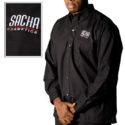 Men's long sleeved shirt with embroidered corporate logo