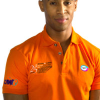 Men's polo with embroidered logos ideal for casual corporate wear and promotional events
