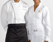 Embroidered food service and hospitality uniforms for Jumby Bay Resort, Antigua