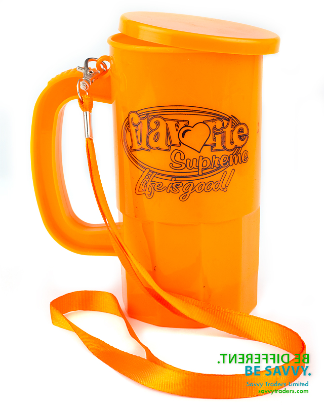 Brandable durable plastic cup with handle and optional lanyard and cover ideal for Carnival bands and Carnival fetes and special events