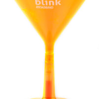 Brandable glow in the dark plastic martini glass for Carnival fetes and promotional events