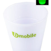 Brandable translucent plastic glow in the dark shot glass ideal for Carnival events and promotional events and giveaways