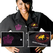 Short sleeved shirt with embroidered corporate logo