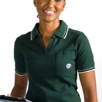 Women's polo with embroidered corporate logo