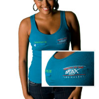 Embroidered Carnival tank top for corporate branding and promotion