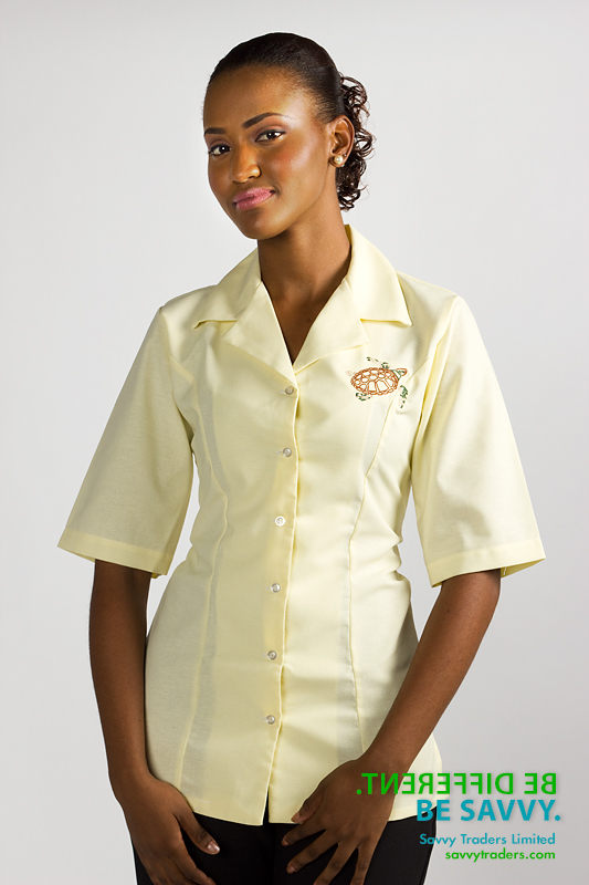 Women's fitted shirt with embroidered corporate logo for Jumby Bay Resort, Antigua
