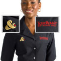 Women's fitted shirt with embroidered corporate logo for restaurant/hospitality industry